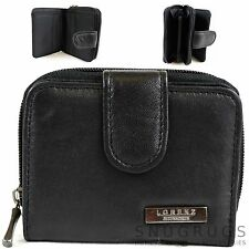 NEW LADIES LORENZ BLACK LEATHER PURSE WALLET WITH ZIP ROUND CLOSURE BNIP