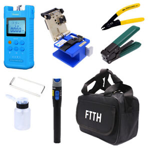 FTTH Fiber Optic Tool Kit w/Fiber Fibra Optica Power Meter&Visual Fault Locator