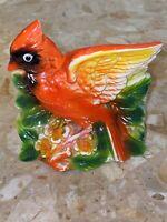 "VINTAGE ESTATE CERAMIC RED CARDINAL BIRD Flowers PLANTER Vase 4.5x4.5x3"" Japan"
