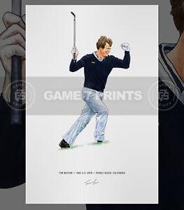 Tom Watson Print Poster 1986 US Open Pebble Beach California Illustrated Golf