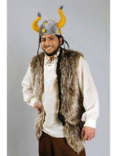 Plüschweste braun Wikinger lang Gr. 54 Karneval Kostüm