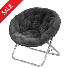 Oversized Moon Chair Seat Stool Saucer Soft Folding Home Living Room Sofa Black