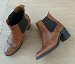 Tan leather cutout boho festival block heel ankle boot by Carvela Comfort, 40