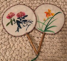 Lot 2 Vintage Hand Painted Floral Oriental Silk Asian Bamboo Handled Fans Art