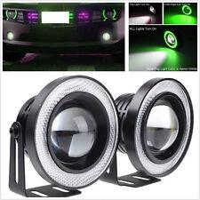 2Pcs Car SUV Angel Eye Driving Fog Light LED Projector Lamp Green COB Halo Rings