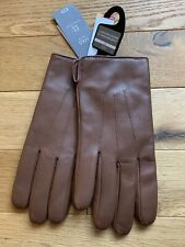 BNWT _ Marks Spencer Mens Tan Leather Gloves ~ Thermowarmth lining size S Small