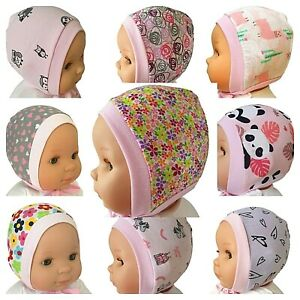 PINK  *NEWBORN - 12 MONTHS* BABY HATS BONNETS WITH LACES / TIED UP 100% COTTON