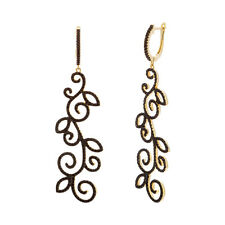 Swirl Yellow Sterling Silver Hoop Earrings Black Rhodium Under Black Spinel Cz