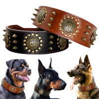 Spiked Studded Dog Genuine Leather Collar Heavy Duty for Medium Large Dogs Boxer