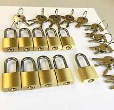 LOT of 10pcs KEY ALIKE small padlocks, LONG shackle! box lock cabinet lock