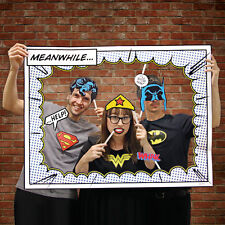 DC COMICS CHARACTER PHOTO BOOTH NOVELTY FRAME PROP FANCY DRESS SUPERMAN & BATMAN