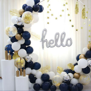 61Pcs Balloons Garland Arch Kit Latex Balloon White Blue Confetti Party Ballon