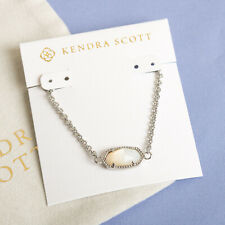 Kendra Scott Elaina Silver Adjustable Chain Bracelet In Ivory Pearl NEW