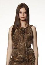 TULEH Leopard Print Sleeveless Layered Silk Chiffon Top Blouse - Sz M