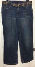Lane Bryant Venezia Sz 18 Bootcut Dark Wash Brown Beaded Stretch Denim Jeans