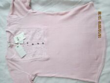 LUCKY BRAND COTTON EMBROIDERED HENLEY TOP SIZE M PINK