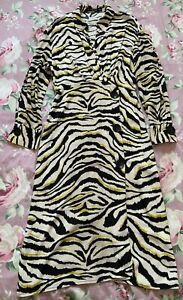 Zara Zebra Print Midi Big Button Shirt Dress 100% Viscose Size L