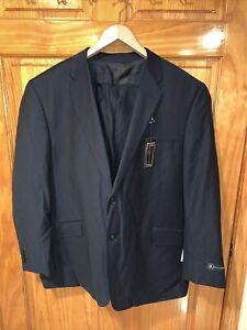 NWT Bachrach Men's Suit Sz 48R Regular Black 100% Wool Blazer Dress Pants 43X30