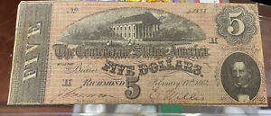 """1864 Confederate States Currency $5 Note """"Richmond"""""""