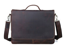 TIDING Men Antique Style Leather Briefcase Laptop Messenger Shoulder Bag Handbag