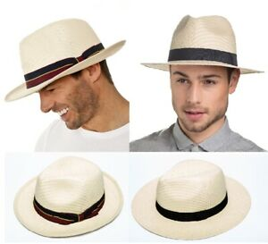 Men's Summer Panama Style Fedora Hat Choice of Bands 2 Sizes