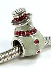 GENUINE CHAMILIA 925 STERLING SILVER ENAMEL SNOWMAN CHARM BEAD Bracelet