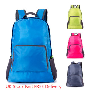 Water Resistant Light Foldable School Office Travel Hiking Camping Rucksack NEW