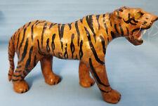 "Vintage Paper Mache Tiger Cat Wild Animal Figurine Glass Eyes Small 7"""