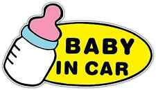 "Baby In Car On Board Sign Girl Car Bumper Window Locker Sticker Decal 6""X3.5"""