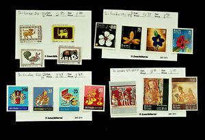 SRI LANKA FLOWERS ANCIENT FLAGS TRADITIONAL HANDICRAFTS 15v MH STAMPS CV $13.60