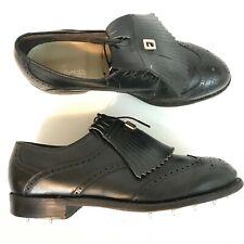 Footjoy Classics Vintage Golf Shoes Kiltie Wing Tip Size 9 D Black USA Made