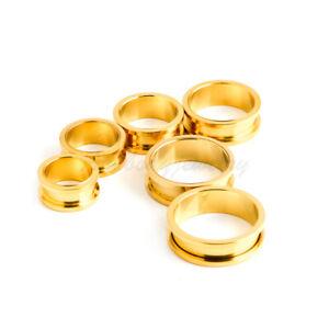 1 PAIR Color Gold Anodized Titanium Screw Fit Flesh Tunnels Gauges Ear Plugs