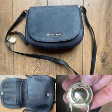 Michael Kors Luxury Saffiano Black Leather Gold Padlock Cross Body Messenger Bag