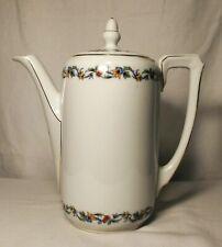 Royal Schwarzburg Floral Coffee Pot with Lid, Gold Trim