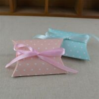 10/50/100pcs Pillow Candy Box Blue Pink Paper Gift Boxes Wedding Party Favor Bag