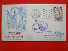 ENVELOPPE PREMIER VOL CONCORDE AIR FRANCE PARIS KLAGENFURT 1/9/1984 CAILLAT
