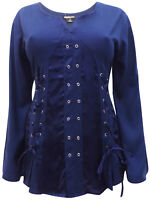 Eaonplus ladies blouse top plus size 26 28 30 32 navy blue gothic ribbons eyelet
