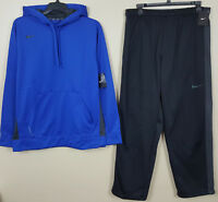NIKE THERMA-FIT SWEATSUIT HOODIE + PANTS SET ROYAL BLUE BLACK NEW RARE (SIZE XL)