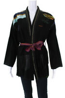Monoki  Womens Stars And Stripes Embroidered Jacket Black One Size