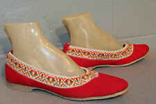 8.5 M NOS VTG 70s  KEDS Slip-On Flats Red Canvas Braided Trim Grasshoppers Shoe