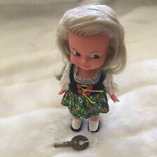 "Vintage Sweetheart West Germany Wind Up Dancing Twirling Girl 7"" Doll w/ Key"