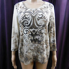 Zenergy Chicos 1 Blouse 3/4 Sleeve Ivory Brown Print Shirt Women's Top S 8 10