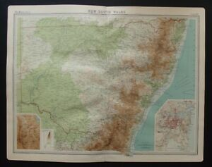 Antique Map: New South Wales, Australia, by John Bartholomew, Times Atlas, 1920