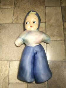 "Antique/Vintage 40s 50s 21"" Fabric Body Doll With Plastic Face"