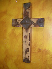 Rustic Old Door Wood Cross-Mexican Folk Art-9x16--Beautiful-Antique-Wall-Iron