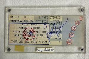 NY Yankees Stadium Ticket Signed by BOB BOONE on 7/26/96