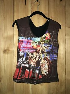 Nally & Millie Womens/Juniors Multicolor Sleeveless Top w Motorcycle & Bling Sz