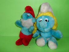 grande PUFFO e PUFFETTA PELUCHE VINTAGE anni 80 1982 peyo doll collezione morbid