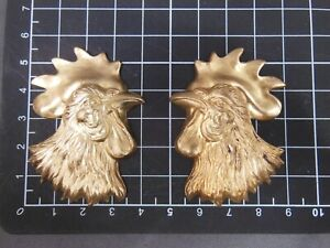 X-Large Rooster head L&R hollow Brass stamping jewelry finding (osb0038/0039)