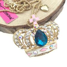 Enamel Betsey Johnson Charm Chain Jewelry Pendant Crown Fashion Gold Necklace